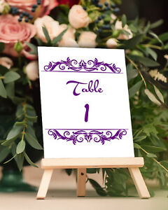 Wedding Table Numbers Swirl Floral Design Place Card DIY Table Centerpieces 1-50