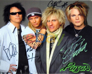 Bret Michaels POISON Signed Autograph 8x10 Photo by All 4 Members reprint