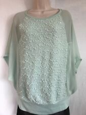 Jennifer Lopez Shirt Sexy Semi-Sheer Teal Dolman Sleeve Opaque Textured Front