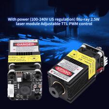 445nm 2.5W 2500mW Módulo Cabeza Láser Azul 12V CNC Grabado TTL PWM Heatsink