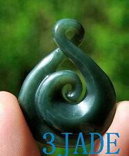 New Zealand Maori Twist Koru Nephrite Jade Pendant Pounamu Necklacee
