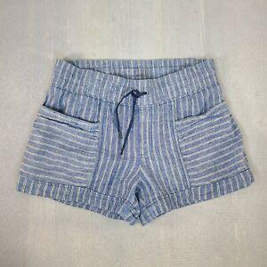 Athleta Cabo Tide Women's Linen Comfy Shorts Blue White Stripe Pockets Size 12
