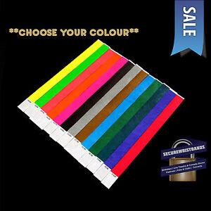 100 x Tyvek, Party, Event, ID Wristbands *Choose Your Colour* *SALE* 11 COLOURS