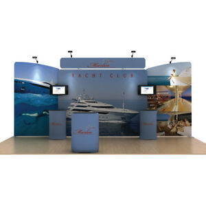 20ft portable custom tension fabric trade show display pop up banner booth sets