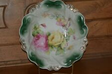 ANTIQUE PORCELAIN BOWL~ROSES with TEAL ACCENTS BAVARIA