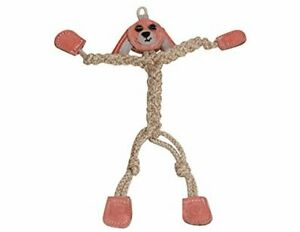 """HUGGLEHOUNDS WEE 9"""" THIN 3MM ROPE & LEATHER BUNNY RABBIT KNOTTIES DOG TOY XS-SM"""