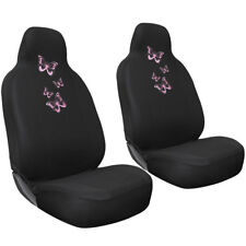 SUV Van Truck Seat Cover Pink Butterfly 2pc Bucket Set w/Head Rest Embroidered