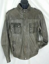 COLE HAAN XXL Soft Lambskin Leather Fade Brown Motorcycle Jacket Cafe Racer 2XL