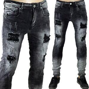 Pantaloni Elasticizzati Skinny Bicolore Uomo Jeans Slim Strappi Stretti Sfumato