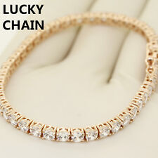 "14K ROSE GOLD FINISH ICED OUT TENNIS LINK BRACELET 7.5"" 4MM 15g"