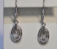 Echt 925 Sterling Silber Ohrringe Zirkonia crystal Oval Hochzeit Nr 279