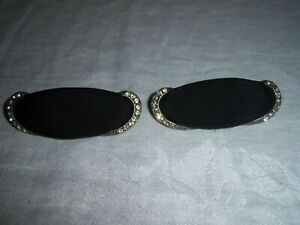 LOVELY VINTAGE SHOE CLIPS ~ FABRIC with RHINESTONE ACCENTS ON DECORATIVE PEWTER?