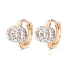Christening First Baby Girl 18 k Gold Plated Earrings Hoops Two Circles Huggies