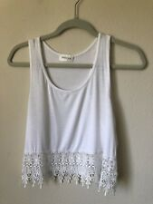 Casual White Crop Tank Top Flower Detailed Lace Size S