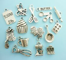 15pc Cooking / Baking Charm Set Lot Collection / Silver Tone / Bake, Cook, Chef