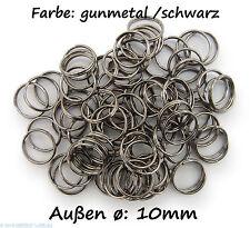 Schlüsselringe / split Rings 10mm Durchmesser Farbe Schwarz 15g ca.80 Stk