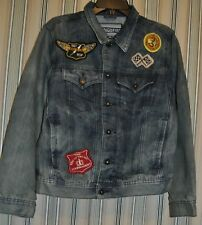 Ring Of Fire Denim Men's Buttoned Distress Patchwork Jacket Sz S Small
