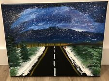 HAND MADE Oil Painting, Blue sky, Road trip, Snow, Galaxy