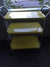 Vintage Metal Rolling Kitchen Cart Original Paint