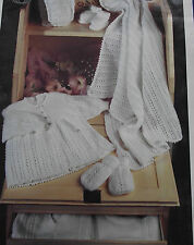 KNITTING PATTERN - DELICATE LACY KNIT BABY LAYETTE IN 4-PLY WOOL  x 5 ITEMS