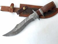 Custom rare art Damascus WITH Real Burl Wood Bowie Knife