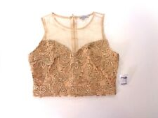 Charlotte Russe Womens Gold Embroidered Evening Skater Crop Top Sheer Back M NEW