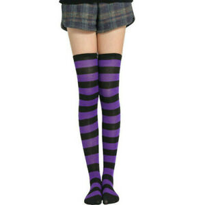 Women Girl Striped Thigh High Stockings Over The Knee Xmas Party Socks Gift