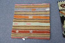 "Turkish Anatolian Kilim Pillow Cushion Hand Woven Wool 18"" x 18"" --= Zipper Back"