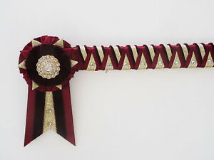 Burgundy and gold - Supreme Cornerstone browband - velvet show browband - £26.99