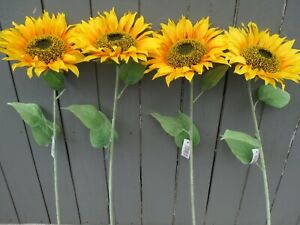 Artificial Sunflowers - 4 Realistic Large Sunflower Stems