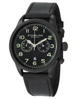Stuhrling 482 33551 Velo Quartz Chronograph Date Black Dial Leather Mens Watch