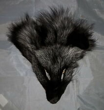 "Genuine Real Dark Silver Fox Face-Taxidermy,Pelt,Crafts,Rendezvous,Tanned,""NEW"""