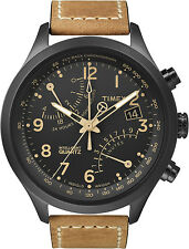 New Timex T2N700 IQ Fly Back Chronograph Watch Leather Indiglo Analog Black Tan