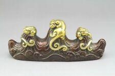 Ancient Chinese purple bronze carving pen holder pen rack.