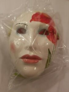 NOS VANDOR Face Mask Ceramic Harlequin Wall Art Japan