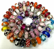 wholesale 60 pieces Authentic Pandora 925 ale  silver beads glass murano charm