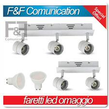 applique led orientabile gu10 2 luci 3 luci plafoniera led metallo bianca v-tac