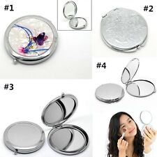 Womens Ladies Round Portable Pocket Mirror Compact Double Side Makeup Cosmetic