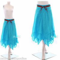 Ladies Womens Lagenlook Cotton Lace Layer Belted Summer Elasticated Maxi Skirt