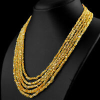 235.00 CTS NATURAL 5 STRAND RICH YELLOW CITRINE ROUND CUT BEADS NECKLACE - (DG)