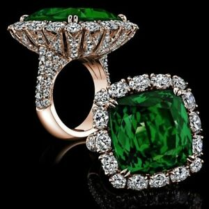 Real 14k Rose Gold over 925 Sterling Silver Handmade Green Cushion CZ Halo Ring