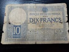 🇲🇦 Morocco 10 francs P-17a 20-May 1931 Currency Banknote 030421-1