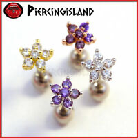 Dainty Crystal Flower Ear Cartilage Helix Tragus Ring Bar Stud Piercing Earring