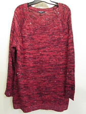 NEW Relativity Size 2X Red Black Sequin Sparkly Long Scoop Neck Sweater NWT $74