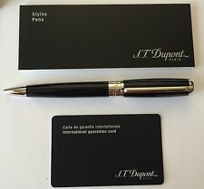 S.T. Dupont Elysee Ball Point Pen, Black Lacquer & Palladium, 415674, New In Box