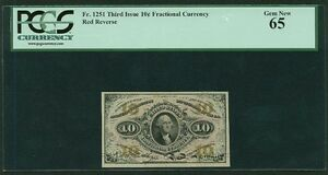 """U.S. 1864-69 10 CENTS FRACTIONAL CURRENCY FR-1251 CERTIFIED BY PCGS """"GEM NEW 65"""""""