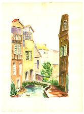 Aquarelle originale  sur papier canson  Figeac  La Rue du Canal   J.Lucas
