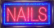 NAILS LED LIGHTED SIGN store display advertising decor light up window salon