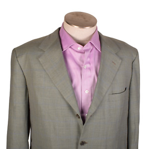 Brioni Nomentano Wool/Cotton Green Plaid Sportcoat Blazer 3 button Dual Vent 42
