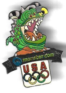 2002 Monster Salt Lake City Olympic Pin Monster.com USA Rings